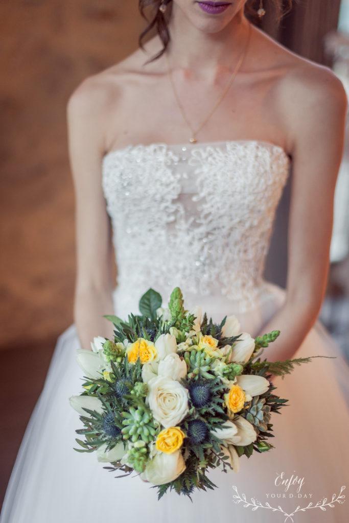 bouquet de mariée jaune et bleu  fleur par nature montpellier