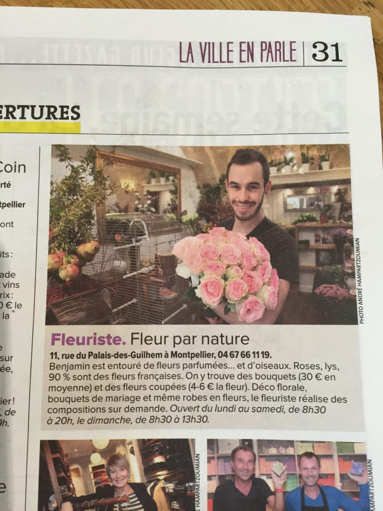 presse et bouquet Boutiques fleur benjamin jean fleuriste montpellier